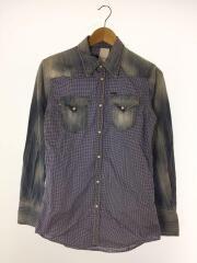 長袖シャツ/46/コットン/BLU/チェック/ドッキングシャツ/ウェスタンシャツ/スナップ/トップス/青