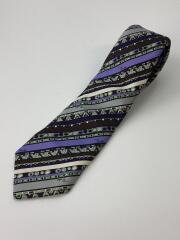 ネクタイ/シルク/PUP/総柄/メンズ/斜めストライプ/紫/茶色/マルチカラー/小物/イタリア製