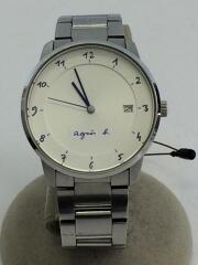 クォーツ腕時計/アナログ/ステンレス/WHT/SLV/vj42-kz30/日本製/ロゴ入り/メンス