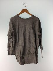 長袖Tシャツ/--/--/GRY/無地/グレー/ロンT/刺繍ロゴ/日本製/レディース/カットソー