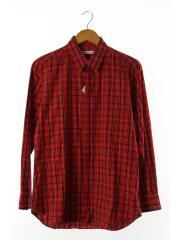 長袖シャツ/38/コットン/RED/チェック/赤/比翼シャツ/トップス/メンズ/日本製