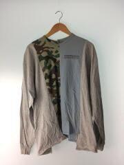 長袖Tシャツ/コットン/グレー/ブルー/カモフラ/プリント/リメイクカットソー/縦縫い/3種類