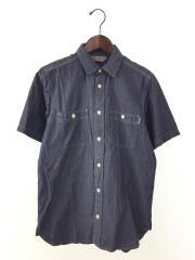 半袖シャツ/S/コットン/IDG/無地/ダンガリーシャツ/ブルー/青/ワークシャツ/トップス