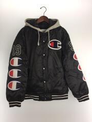 Hooded Satin Varsity Jacket Black/L/ナイロン/BLK
