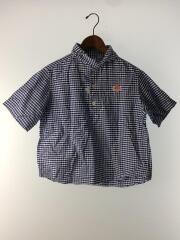 半袖シャツ/34/コットン/BLU/チェック/ギンガムチェックシャツ/丸襟/ひし形/ワッペン/