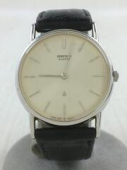 クォーツ腕時計/アナログ/SLV/BLK/2620-0190/セイコー/レザー/