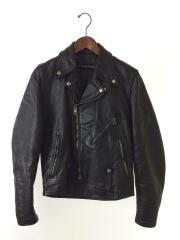 70s-80s/ダブルライダースジャケット/レザー/ブラック/IDEALジップ/vintage/中綿
