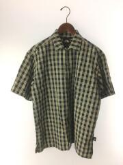 半袖シャツ/M/コットン/グリーン/チェック/ボックスシルエット/開襟/オープンカラー/ワッシャー加工