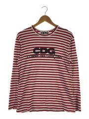 長袖Tシャツ/L/コットン/レッド/ボーダー/SZ-T004/フロントロゴ/カットソー/RED/AD2019