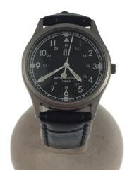MNM-73518AB/10気圧防水/クォーツ腕時計/アナログ/レザー/BLK/ブラック/黒