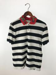エンブロイダリーボーダーポロシャツ/ヘビ/刺繍/ポロシャツ/M/コットン/431039-X5B58