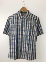 クールウィーブシャツ/半袖シャツ/M/ポリエステル/ブルー/チェック/504622