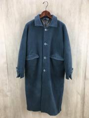 super100s balcollar futon coat/ステンカラーコート/S/ウール/BLU/F01CT01
