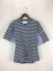 Tシャツ/2/コットン/ネイビー/ボーダー/16-02502/切替/16-02502