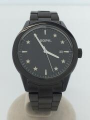 ソフネット/ソーラー腕時計/アナログ/ステンレス/BLK/ANALOG SOLAR STAR DIAL WATC