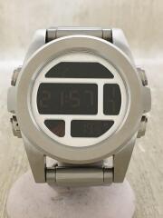 クォーツ腕時計/デジタル/ステンレス/BLK/SLV