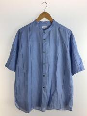 半袖シャツ/XL/コットン/BLU/ストライプ