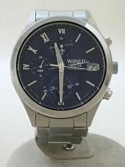 ソーラー腕時計/アナログ/ステンレス/BLU/SLV