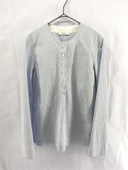 ブラウス/34/コットン/BLU/ストライプ/ノーカラーシャツ