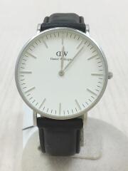 クォーツ腕時計/アナログ/レザー/ホワイト/ブラック
