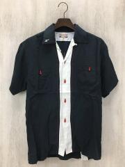 ドライボーンズ/半袖ボーリングシャツ/S/レーヨン/ブラック/中古