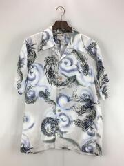 アロハシャツ/L/シルク/WHT/総柄