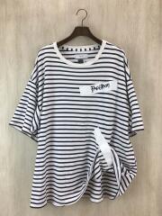 TAPE BORDER BIG TEE (BLK×WHT)/Tシャツ/O/コットン/WHT/ストライプ