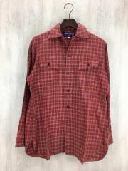 オープンカラー長袖シャツ/S/コットン/レッド/タータンチェック