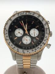 クォーツ腕時計/アナログ/ステンレス/BLK/SLV/クロノグラフ