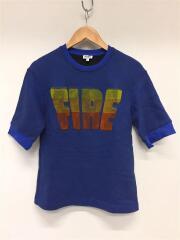 スウェット/S/コットン/ブルー/Fire slogan sweatshirt