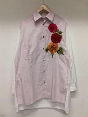17SS/REPLICA 1988SS復刻/フラワー刺繍長袖シャツ/3/コットン/ピンク