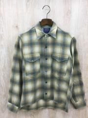 80s/ウールシャツ/14.5/ウール/イエローチェック