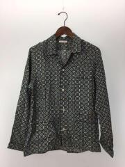 プラダ/長袖シャツ/XS/シルク/ブルー/総柄/シルクパジャマシャツ