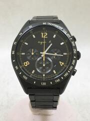 クォーツ腕時計/アナログ/ステンレス/ブラック/クロノグラフ