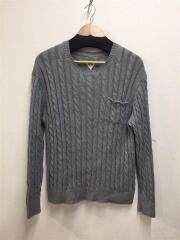 ケーブル編みクルーネックニット/セーター(薄手)/M/コットン/グレー/512080129-1322