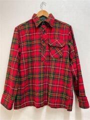 70s/筆記体タグ/ネルシャツ/長袖シャツ/M/ウール/レッド/チェック