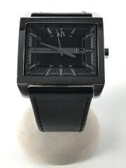 クォーツ腕時計/アナログ/レザー/BLK/BLK/ax2203/小傷使用感あり