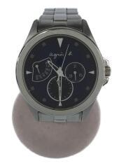 クォーツ腕時計/アナログ/ステンレス/ネイビー/シルバー