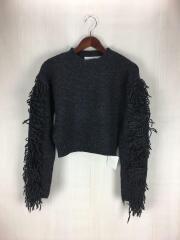 18AW/Fringe Sleeve Knit/セーター(厚手)/FREE/ウール/GRY/無地