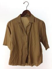 1616-242-0301/キュプラコットンオープンカラーシャツ/--/--/キャメル///無地