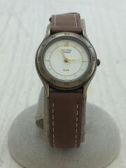 クォーツ腕時計/V701-6080/アナログ/レザー/CRM/BRW