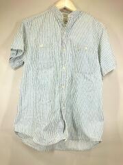 半袖シャツ/0/コットン/BLU/ストライプ/襟汚れ有