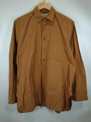 ボタンシャツプルオーバーロングシャツ/47151/S/コットン/BRW/無地