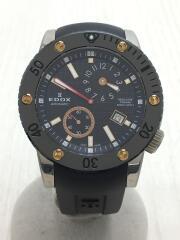 エドックス/自動巻腕時計/アナログ/ラバー/ブラック/77001