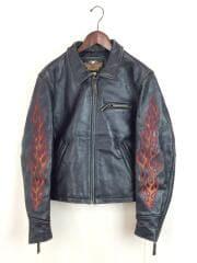 ハーレーダヴィッドソン/シングルライダースジャケット/刺繍/ファイヤーパターン/M/レザー/BLK