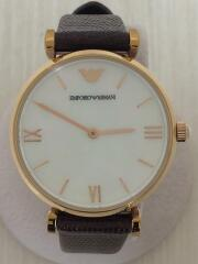 クォーツ腕時計/アナログ/レザー/WHT/BRW/エンポリオアルマーニ/AR9042L