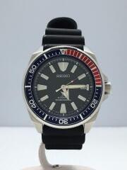 クォーツ腕時計/アナログ/ラバー/NVY/セイコー/4R35-01VO