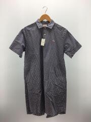 オックスフォードギンガムチェックシャツワンピース/36/コットン/ブルー