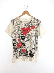 PLAY COMME des GARCONS/Tシャツ/M/コットン/WHT/中古
