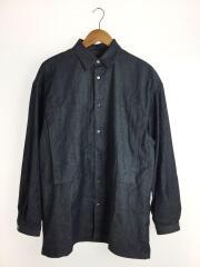 ラインマン オーバーサイズポケットデニムシャツ/S/コットンブレンドデニム/ビッグシルエット/長袖シャツ